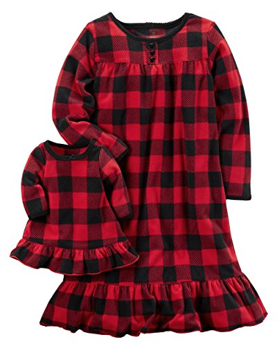 Carters Girls Microfleece Nightgown and Doll Gown Red