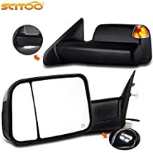 Scitoo Rear View Power Heated LED Turn Signal with Puddle Light Towing Mirrors Side View Black Rearview Tow Mirrors Pair Set for 09-10 Dodge Ram Truck 11-15 Ram Truck (2009-2015 Power Heated Signal)