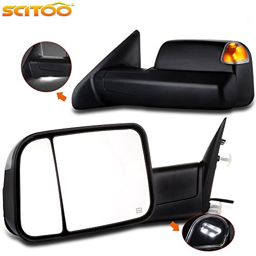 Scitoo Towing Mirrors, for Dodge Ram Exterior Accessories Mirrors for 2009-2016 Ram 1500 2500 3500 with Heated Temperature Sensor Amber Turn Signal and Puddle Light and Power Controlling (Ram 1500 Towing)