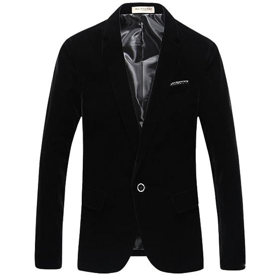 Mens Velvet Blazer Jacket Adults Smart Slim-Fit Blazers Coat ...