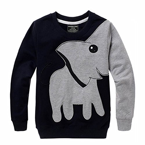 DRAGON VINES Toddler Boys Thanksgiving Shirts Elephant Shirts,Black Elephant Nose Long Sleeve T Shirt Pajamas Sweatshirt Pullover,Kid Favor Halloween Costumes Gift,Black 3T]()