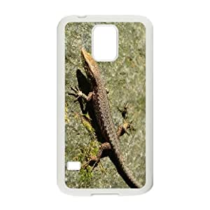 Samsung Galaxy S5 Case Lizard on Side of Stone Protector for Girls, Phone Case for Samsung Galaxy S5 Tyquin, [White]