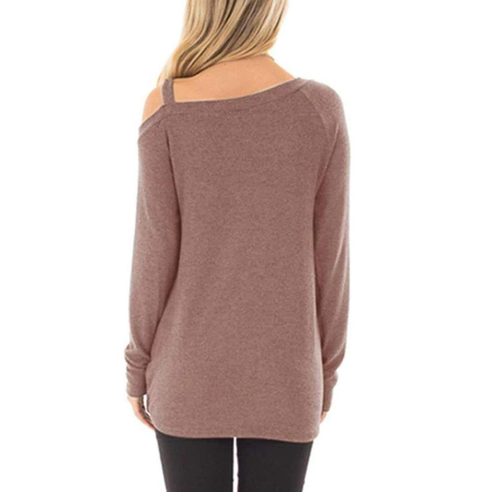 YANG-YI Tops for Women,2019 Casual Cold Shoulder T-Shirt Knot Side Twist Knit Tunic Blouse