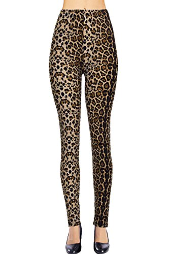 VIV Collection Regular Size Printed Brushed Leggings (Baby Leopard) -