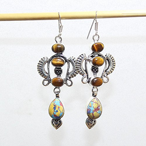Tiger Tigers Eye Earrings - Mosaic Jasper, Tiger Eye Earring Silver Overlay Fashion Jewellery Dangle Bohemian Prom 2.9 Inch Sale