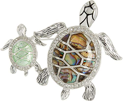 Turtle Pin - Napier Women's Classics Green and Silver Duo Turtles Brooches and Pin