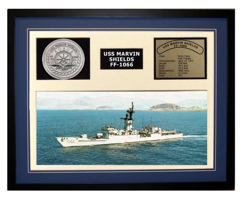 Navy Emporium USS Marvin Shields FF 1066 Framed Navy Ship Display Blue (Uss Shields Marvin)