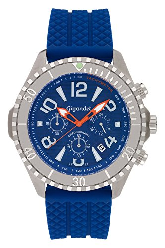 - Gigandet Men's Quartz Watch Aquazone Chronograph Analogue Silicone Strap Blue Silver G23-004