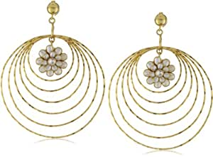 """Zariin """"Encircled Daisies"""" White Pearl Flower Multi Hoops Earrings"""