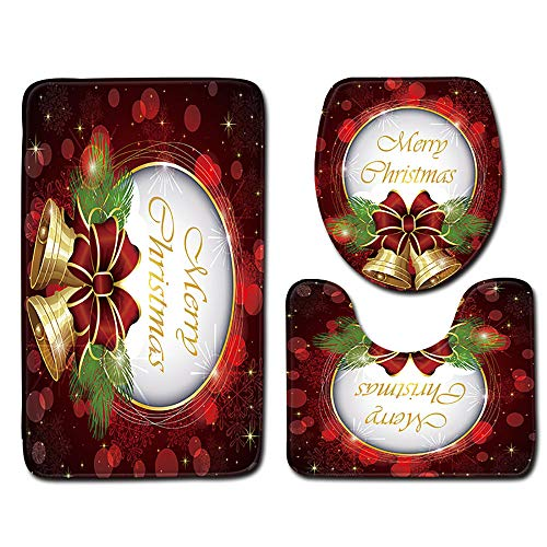 Sunshinehomely SHL Christmas Santa Claus Non-Slip Bath Mat Bathroom Toilet Seat Cover and Rug Christmas Decor 3pcs (B)