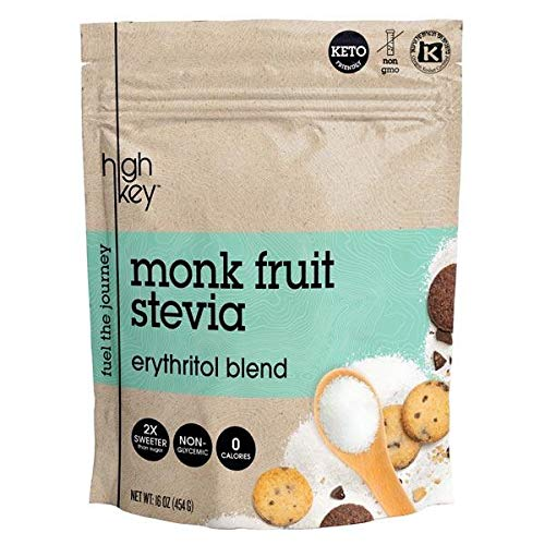 HighKey Monk Fruit, Stevia, Erythritol Sweetener 2:1 Blend - Keto, Diabetic & Paleo Friendly - Granulated, Low Calorie, No Carb Natural Sugar Substitute - Non GMO, Vegan, Kosher, Non Glycemic 16 oz