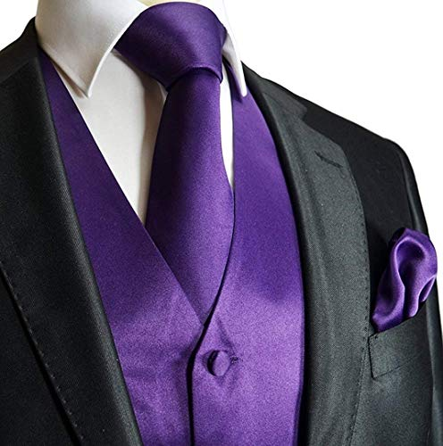 Knoepproof 5 Moderna Casual Fit 2xl Elegante color Da Uomo V Loop Hanky ​​con Tie Vest Suit Gilet Smoking Collo Purple E Slim Size wqn8XIf0w