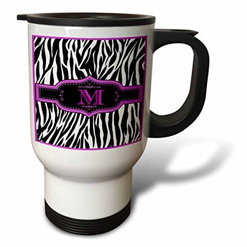3dRose tm_214138_1 Monogram with M Initial Zebra Print Hot Pink and Black Travel Mug, 14 oz, White Monogram Travel Mugs