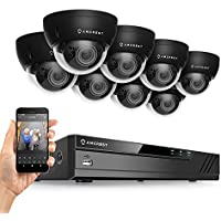 Amcrest 16CH Plug & Play H.265 4K NVR 3MP 1536P Security Camera System, (8) x 3-Megapixel 2.8mm Wide Angle Lens Weatherproof Metal Dome PoE IP Cameras, 98 Feet Night Vision (Black)