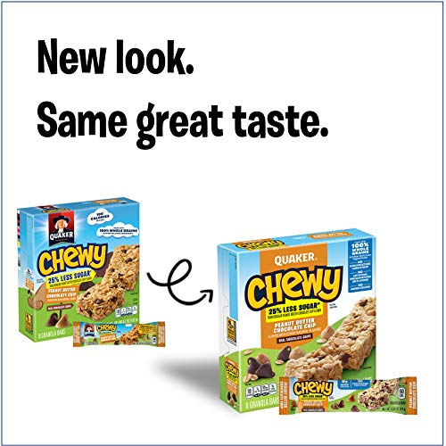 Quaker Peanut Butter Chocolate Chip Chewy Granola Bars Reduced Sugar, 0.84 Ounce , 8 Count (Pack of 6)