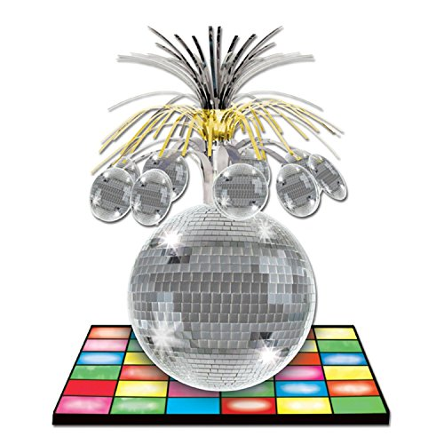Disco Ball Centerpiece - Club Pack of 12 Multi-Colored Dance Floor and Metallic Disco Ball Centerpiece Decorations 13