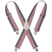 Custom LeatherCraft 110USA Heavy Duty Elastic Work Suspenders, USA Flag Print