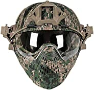 YASHALY Military Tactical Pilot PJ Type Fast Helmets F22 with Removable Full Face Mask and Goggles for Sports