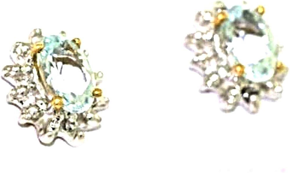 Diciembre Birthstone topacio azul pendientes chapado en oro blanco o amarillo oro chapado en plata