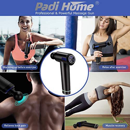 Padi Home Massagepistole, Massage Gun Muscle Massager Massagegerät Elektrisch Entspannen mit 6 verschiedene Aufsätze und 20 Geschwindigkeiten Vibrationsgerät Muskel