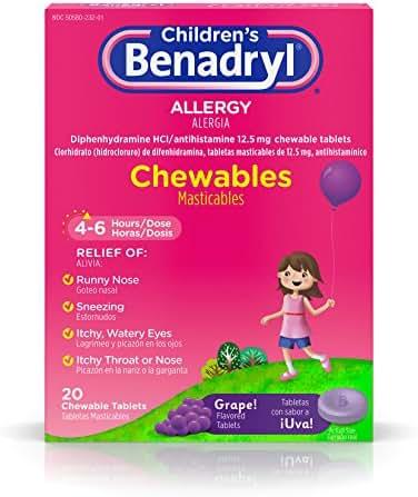 Children's Benadryl Allergy Chewables with Diphenhydramine HCl Antihistamine, Grape Flavor, 20 ct