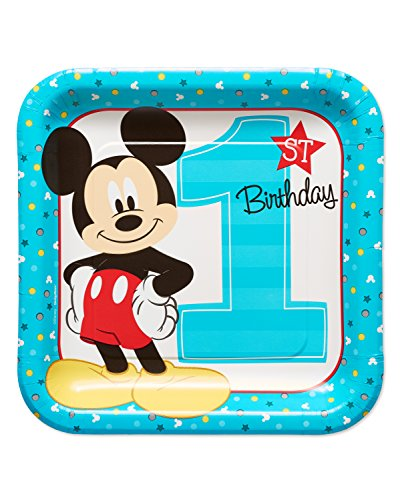 Mickey Mouse First Birthday Dinner Plates, 8-Count