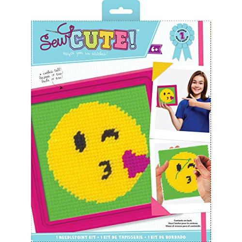 Colorbok Sew Cute Emoji Kiss Needlepoint Kit,