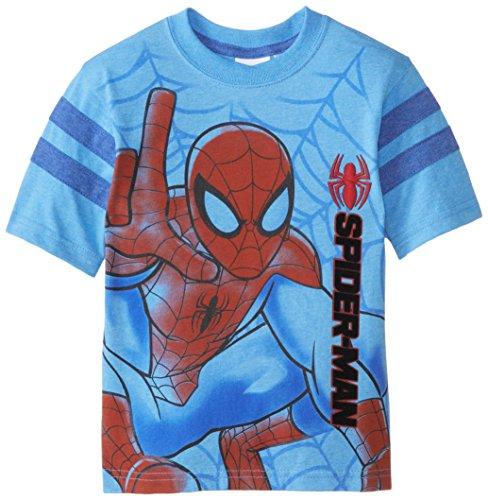Marvel Little Boys' Spiderman T-Shirt, Blue, 7 (T Shirt Spiderman)