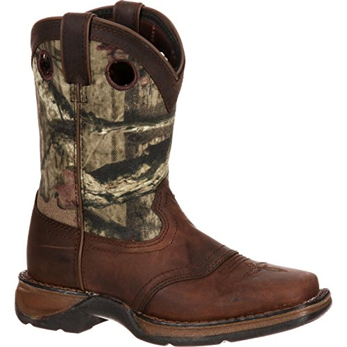 Saddle Kids Boots - Durango Unisex Lil Big Kid Camo Saddle Western Boot Mid Calf, Distressed Brown, 4 M US