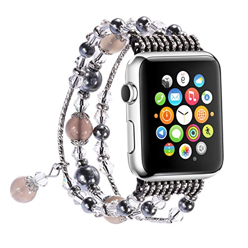 Apple Watch Band, Tomazon Fashion Handmade Elastic Stretch Faux Pearl Natural Stone Bracelet Replacement iWatch Strap Women Girls for Apple Watch Series 2 Series 1 All Version