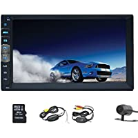 EinCar Double Din 7 Inch Touch Screen Car Stereo In Dash GPS Navigation Car MP5/MP3 Player AM FM Radio Multimedia Receiver Support 1080P Video/USB/SD/Remote Control+Wireless Backup Camera