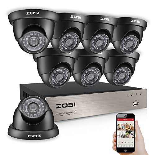 ZOSI 8-Channel HD-TVI 1080N/720P Video Security System DVR and (8) 1.0MP Indoor/Outdoor Weatherproof Cameras with IR Night Vision LEDs- NO HDD, 65ft Night Vision, Customizable Motion Detection