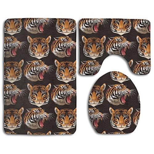(Big Cat Tiger Pattern Style Pedestal Rug + Lid Toilet Cover + Bath Mat Bathroom Accessories Soft Flannel Sets Bathroom Rugs and Mats 3 Piece Bath Rug Non-Slip Floor Rugs \r\nToilet Covers and Rugs)