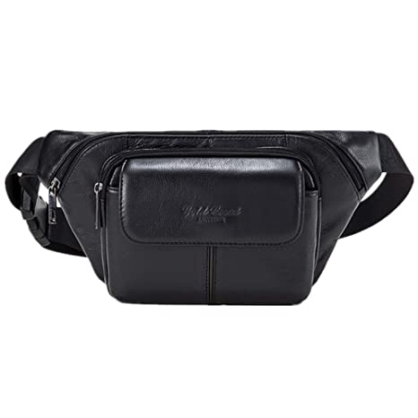 AIAIMEI Mens Waist Pack Bag Fanny Pack Leather Hip Bum Bag for Outdoors Travel Hiking Cycling