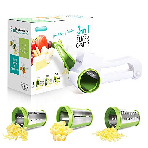 Cheese Graters for Kitchen with 3 Stainless Steel Blades Rotary Cheese Grater Handheld Masthome
