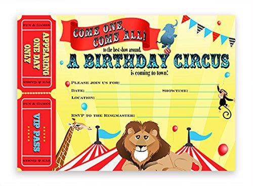 POP parties Big Top Circus Large Invitations - 10 Invitations 10 Envelopes