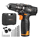 Tacklife 12V Lithium-Ion Cordless Drill/Driver Set - 3/8-inch All-Metal Chuck 2-Speed Max Torque 239 in-lbs 19+1 Position with LED, 100-240V Charger with Advanced Battery Cell | PCD01B