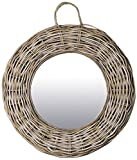 East at Main TT-WR-DT604-M Giota Grey Transitional Round Rattan Mirror, Medium