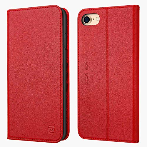 - iPhone 8 case iPhone 7 case ZOVER Genuine Leather Case Flip Folio Book Case Wallet Cover with Kickstand Feature Card Slots & ID Holder and Magnetic Closure for iPhone 7 and iPhone 8 Red
