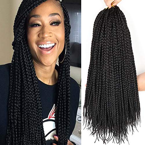 22 Inch 24 Strands/Pack Box Braids Crochet Braids Black Color Synthetic Kanekalon Jumpo Box Braid Hair Extension (22 Inch, 1B)