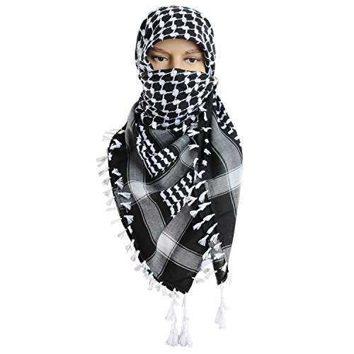 Micoop Large Size Premium Shemagh Scarf Arab Military Tactical Desert Scarf Wrap(48 by 48 inches) (Black White) by Micoop