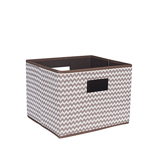 (Household Essentials Open Storage Bin with Cutout Handles, Brown Chevron, Single Unit,)