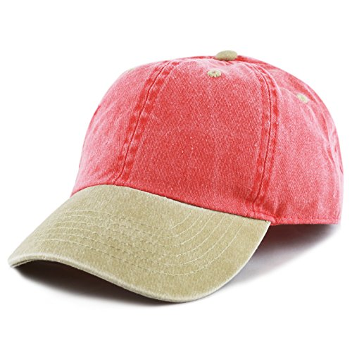 - The Hat Depot Cotton Pigment Dyed Two Tone Low Profile Six Panel Plain Cap (Red Khaki)