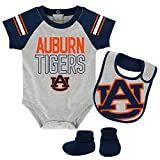 NCAA Auburn Tigers Newborn & Infant Blitz Bodysuit, Bib & Booties, Heather Grey, 12 Months
