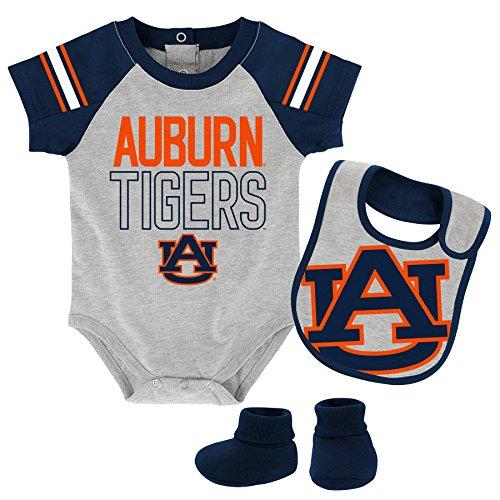 """OuterStuff NCAA Auburn Tigers Children Boys""""Blitz"""" Onesie, Bib & Bootie Set, 12 Months, Heather Grey"""