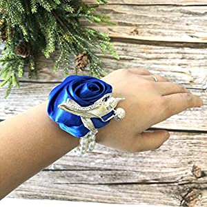 Abbie Home Class Wrist Corsage Boutonniere for Prom Bridegroom Guest Bridesmaid Wedding Party Silk Rose Flower Decor (Corsage, Blue) 58