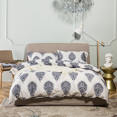 Damask Medallion Luxury Duvet Quilt Cover Boho Paisley Print Bedding Set 400 Thread Count Egyptian Cotton Sateen Vibrant Bohemian Pattern (King, Navy - Comforter Gypsy Set
