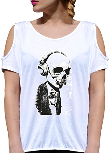 T SHIRT JODE GIRL GGG27 Z1363 SKULL SKELETON ROCK DARK DEATH MUSIC FUNNY FASHION COOL BIANCA - WHITE XL