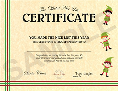 North Pole Letters Personalized Christmas Nice List Certificate ()