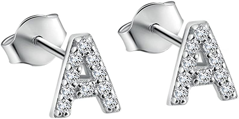 Amazon Com Paialco 925 Sterling Silver Initial A Cubic Zirconia Studs Earrings Tiny Letters Jewelry